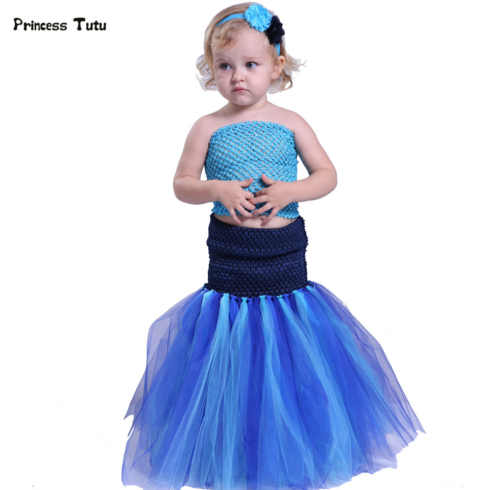Mermaid Girl Tutu Dress Halloween Cosplay Costume Princess Tulle Dress With Headband Under The Sea Photo Prop Party Birthday gorgeous pink and white girls tutu dress with headband princess birthday party wedding costume photo props tulle dress ts110