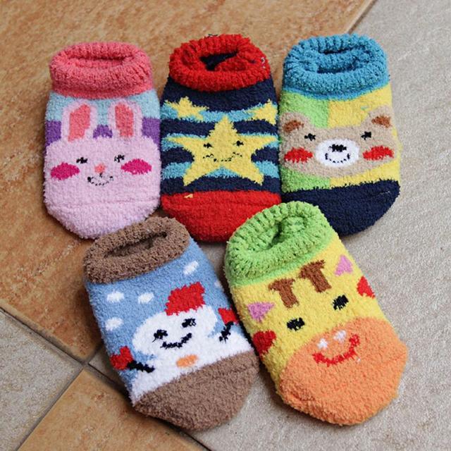New Top Fashion Unique Baby Kid Socks Antiskid Toddler Coral Cashmere Low Socks art socks Free Shipping Yo vicky