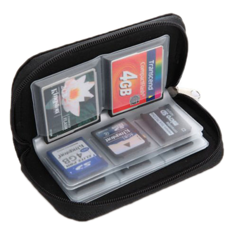 PROMOTION! 22 Pcs SD CF Micro SD Memory Card Storage Carrying Pouch Holder Black