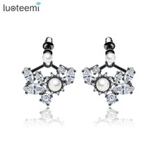 LUOTEEMI Customize AAA Cubic Zirconia Imitation Simulated Pearls Jacket Stud Earrings For Women Fashion Wholesale Jewelry