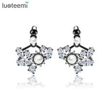 LUOTEEMI Customize AAA Cubic Zirconia Imitation Simulated Pearls Jacket Stud Earrings For Women Fashion Wholesale Jewelry