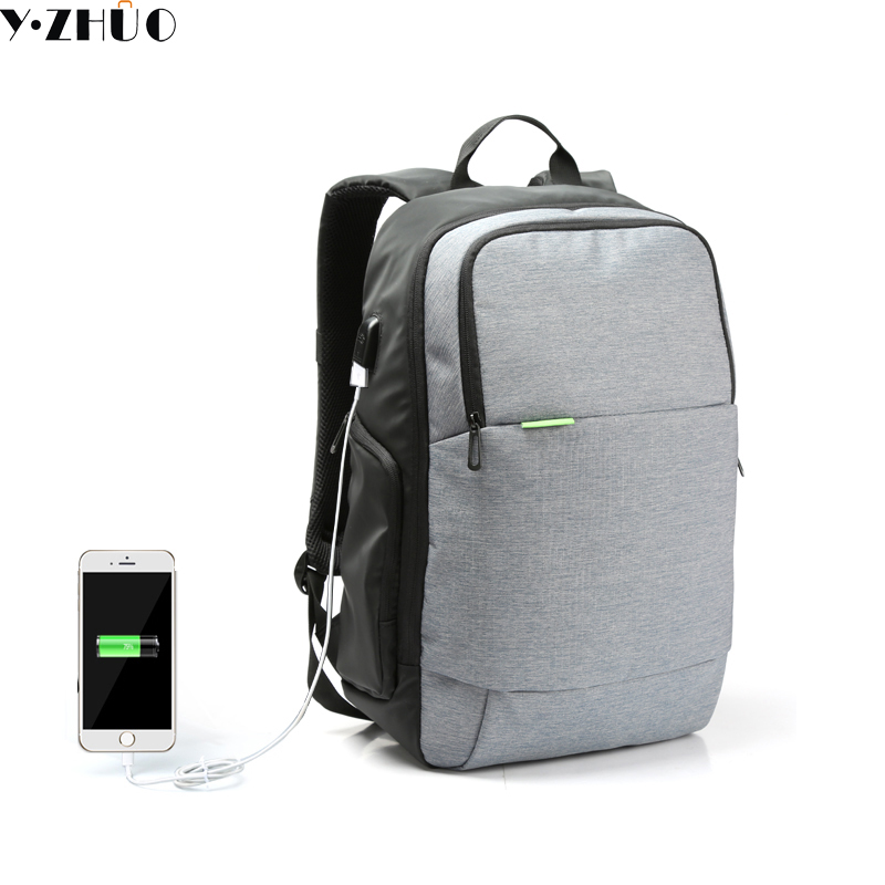 Y.ZHUO External USB Charge Laptop Backpack Anti-theft Notebook Computer shoulder travel bags 15.6 inch for Business Men Women fashional brand external usb charge anti theft backpack oxford bag for women 15 6inch waterproof laptop backpack with rain cover