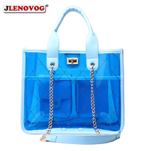 Women Clear Handbag Large PVC Shoulder Bag Women's Candy Top Handle Tote Blue Pink Jelly Shopper Purse Crossbody Chain Bags 2019