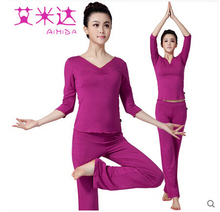 2016 Top quality cotton yoga suits Top+Pants sets Women's jumpsuit bodysuit Gym running fitness sports tights Sportwear Suits