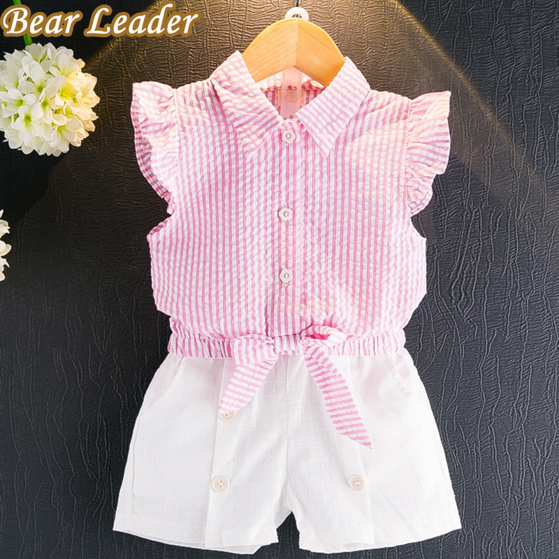 Bear Leader Girls Clothing Sets New Summer Kids Clothes Sleeveless Striped T-shirt+White Short Pants 2Pcs Suits For 3-7 Years 2017 summer girls sets clothes short sleeve chiffon baby girls sets for kids big girls t shirts and stripe shorts children suits