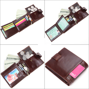 Image 5 - MISFITS cowhide men short wallet brand fashion purse with coin pocket 100% genuine leather credit card holder money bag for male