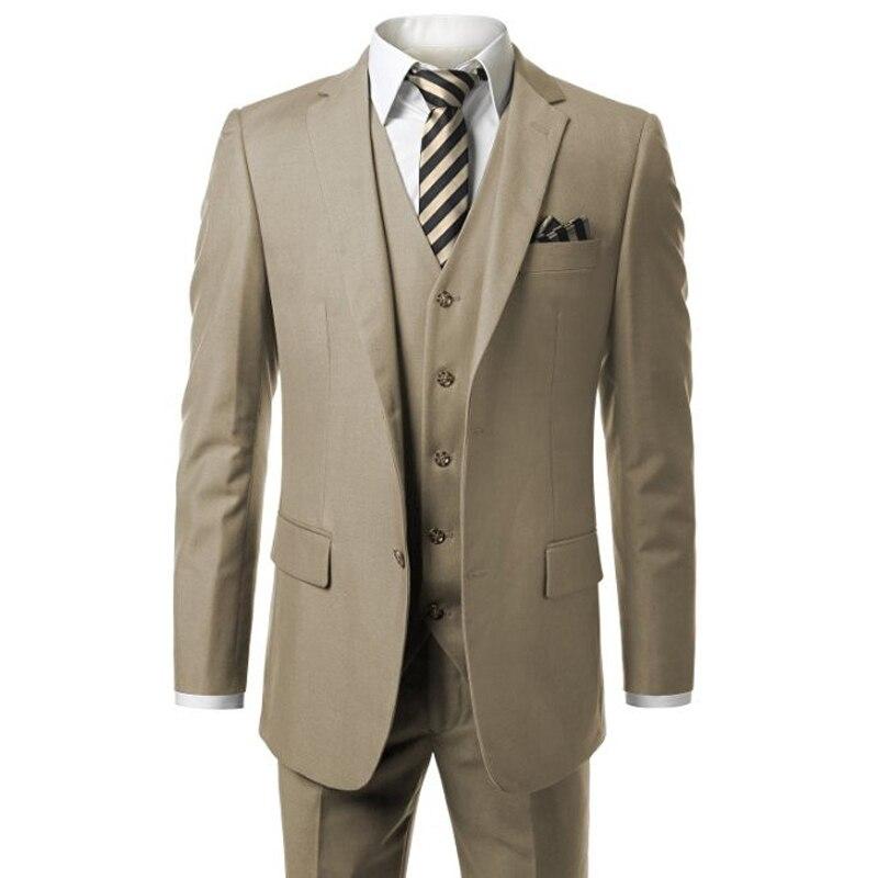 Mutig Hb018 Khaki Herren Moderne Fit 3-piece Suit Blazer Jacke Weste Und Hose Benutzerdefinierte Machen, Messen Auftrag Männlichen Klage (coat + Pants + Weste)