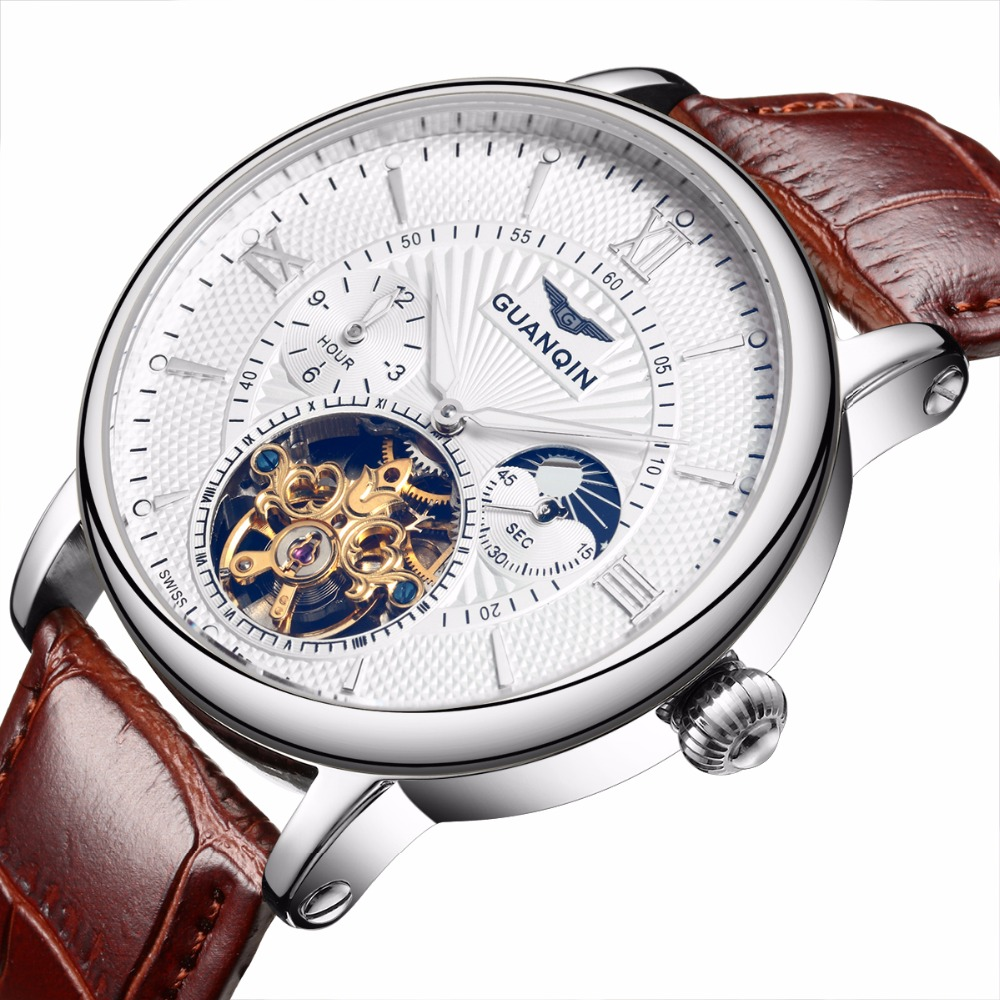 GUANQIN NEW Relogio Masculino Mens Watch Top Brand Luxury Tourbillon Automatic Mechanical Watch Men gold Skeleton