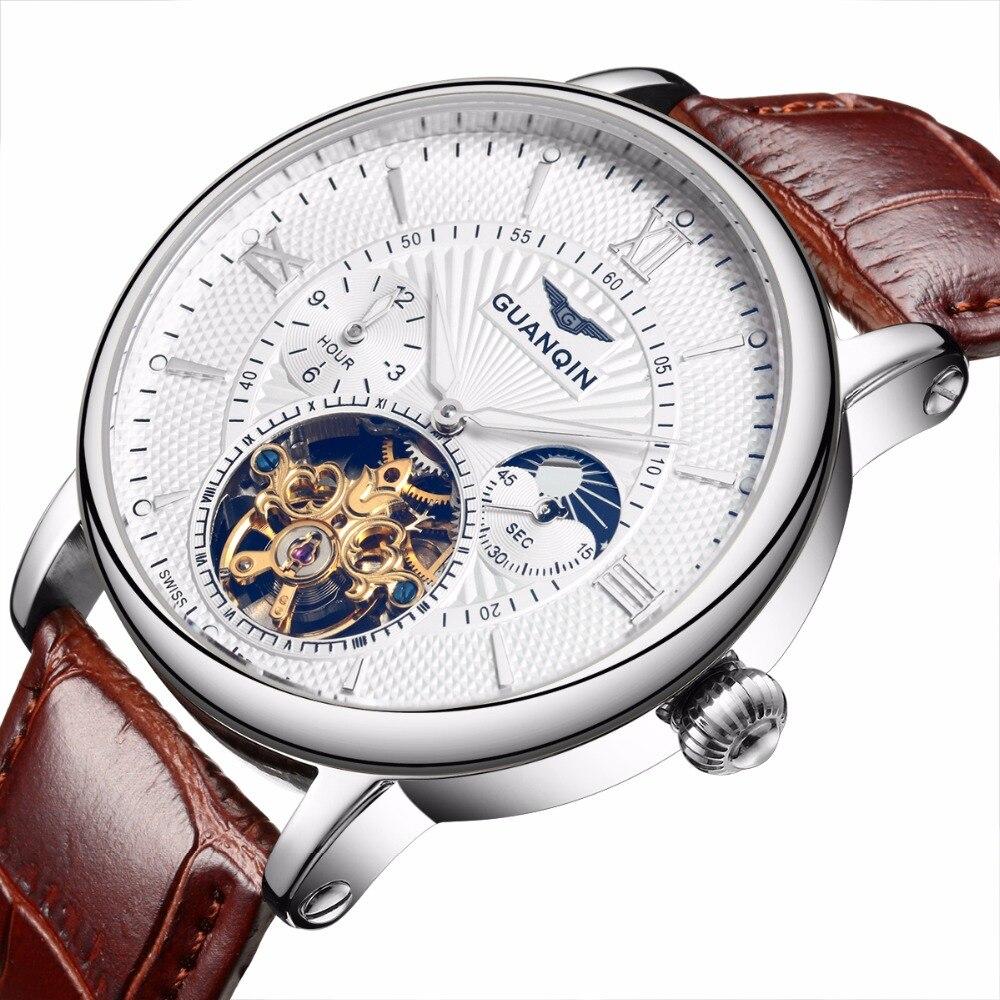GUANQIN новый Relogio Masculino для мужчин s часы лучший бренд класса люкс Tourbillon автоматические механические часы для мужчин Золотой Скелет наручные ча...