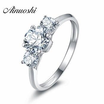ee9b08597e58 AINOUSHI nuevo estilo Vintage 3 piedras anillo 925 plata esterlina mujeres  SONA NSCD anillo de compromiso