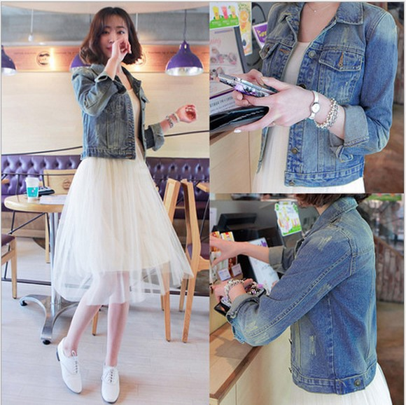 Danjeaner Solid Turn-down Collar Jean Jacket for Women Loose Casual Blue Fashionable Women Coats Female outwear Denim Feminine