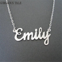 GORGEOUS TALE Handmade Custom Name Jewelry Personalized Necklaces Women Men Gold Silver Engraved Chokers Neckalces