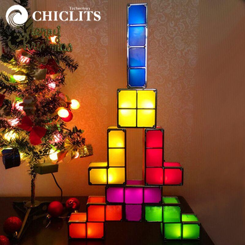 FAI DA TE Blocchi di Tetris Puzzle Luce Impilabile LED Desk Lamp Edificabile Luce di Notte Gioco Retrò Torre Bambino Colorato Giocattolo del Mattone magico