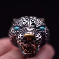 S925 silver jewelry natural ring inlaid dominee ring retro southern red leopard head ring