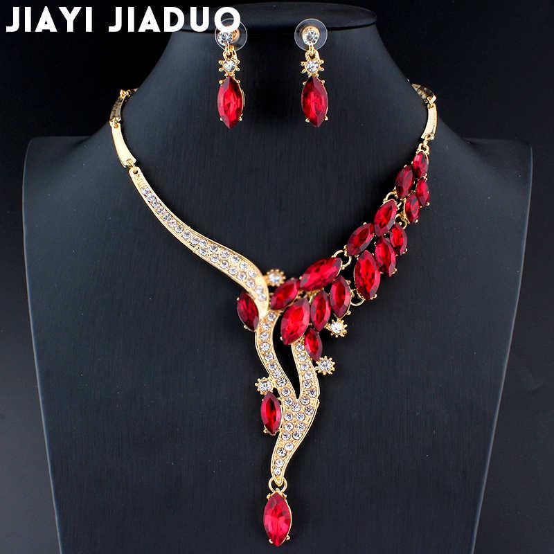 Jiayijiaduo zestawy biżuterii ślubnej czerwony kryształ naszyjnik kolczyki prezent dla glamour kobiety akcesoria Dropshipping złoty kolor randki
