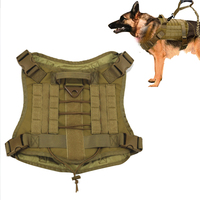 Military Tactical Dog Modular Harness With No Pull Front Clip Law Enforcement K9 Working Hunting Vest Nylon Bungee Leash