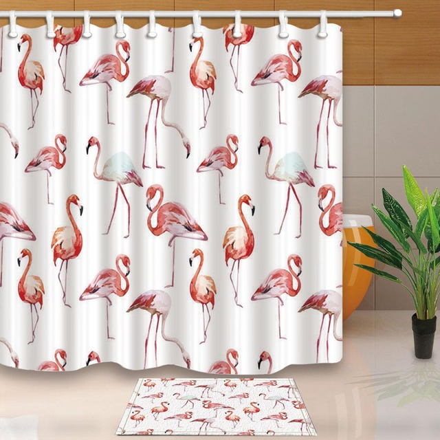 Flamingo Waterproof Shower Curtain Fabric Polyester Creative Bath White Curtains Printed For Bathroom With 12pcs Hooks