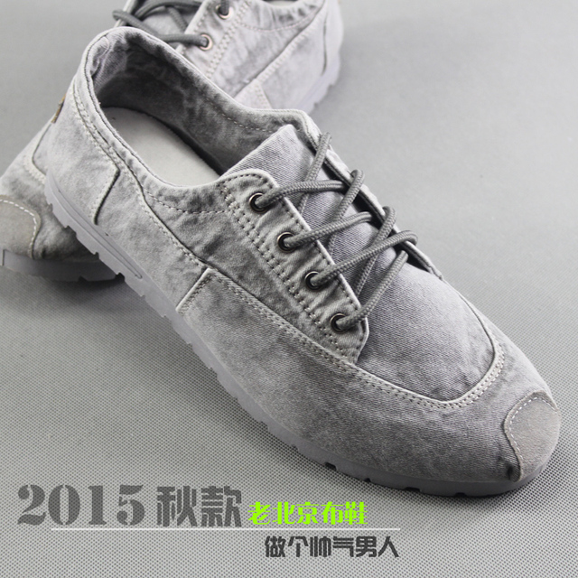 Cotton-made beijing shoes  denim canvas shoes flat lacing casual comfortable low  wear-resistant