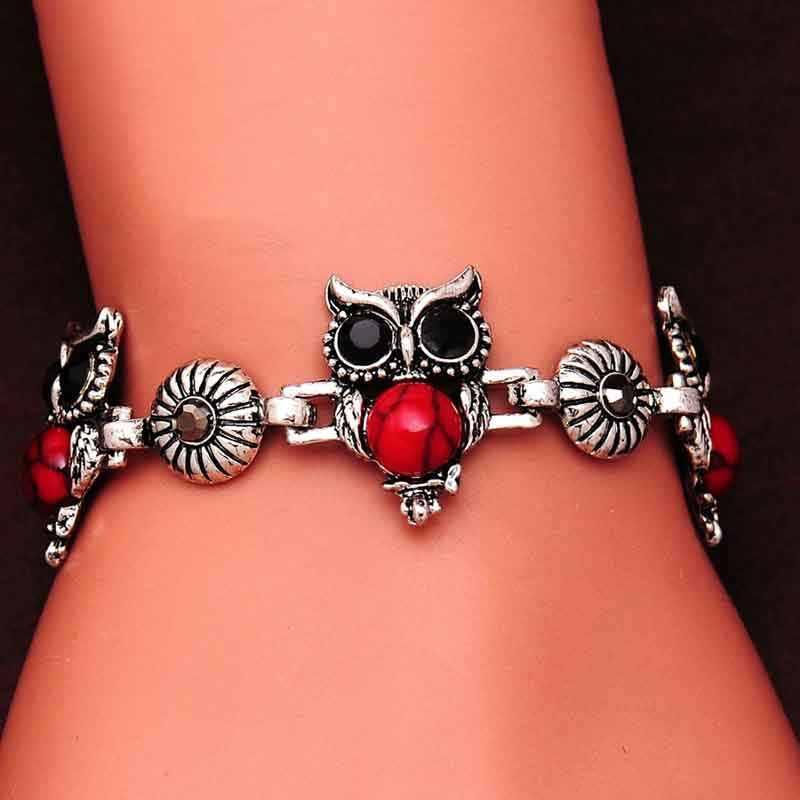 Прекрасный красный/черный набор украшений для женщин Сова модное ожерелье Подвески Серьги Браслет для женщин Бесплатный подарок популярный ювелирный набор