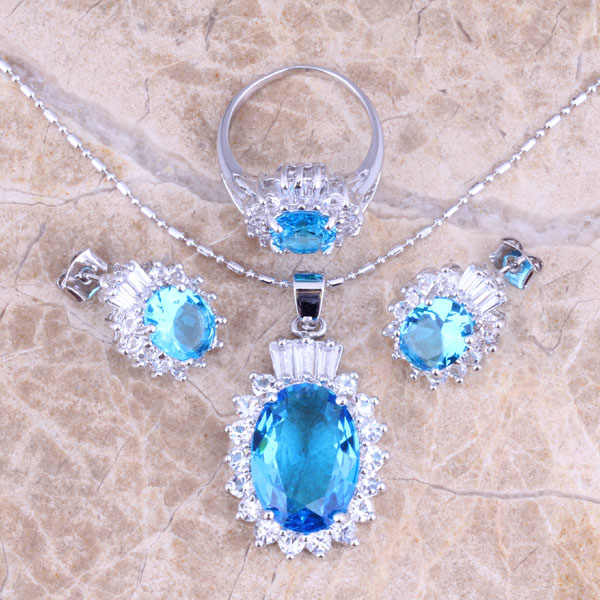 Distinctive Sky Blue Cubic Zirconia White CZ Silver Jewelry Sets Earrings Pendant Ring Size 6 / 7 / 8 / 9 / 10  S0421
