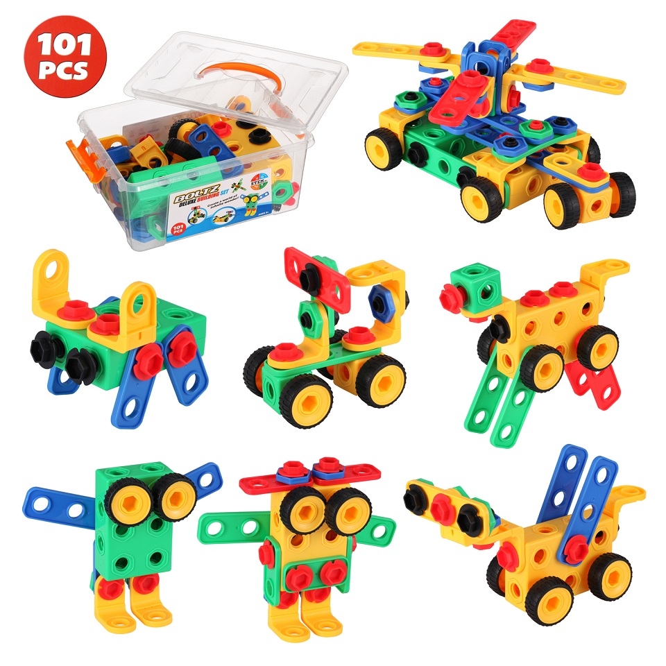 DIY Building Kit STEM Educational Engineering Assembly Toy Screwing Blocks Building Construction Toys Creative Fun Gift for Kids