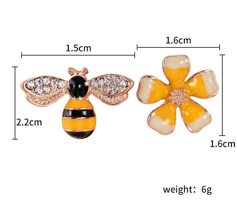 2019 ใหม่เกาหลี Charm ต่างหูอินเทรนด์บุคลิกภาพต่างหูไม่สมมาตรต่างหูดอกไม้ Bee ต่างหูเครื่องประดับ kupe 4.5g