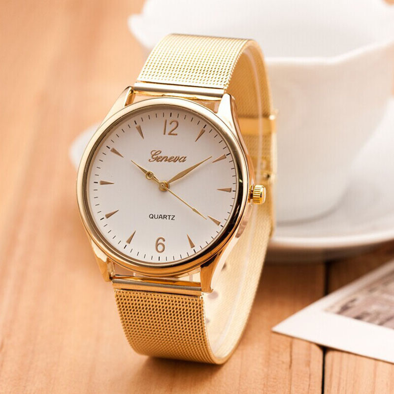 2016 Famous Brand Casual Geneva Quartz Watch Women Gold Silver Mesh Stainless Steel Dress Women Watches Relogio Feminino Clock 2016 new famous brand silver watch women casual quartz clock women metal mesh stainless steel dress watches relogio feminino