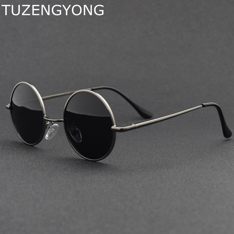 2018 New Brand Designer Classic Round Sunglasses Men Women Polarized Metal Small Frame Retro Sun Glasses UV400  Black Lens Shade
