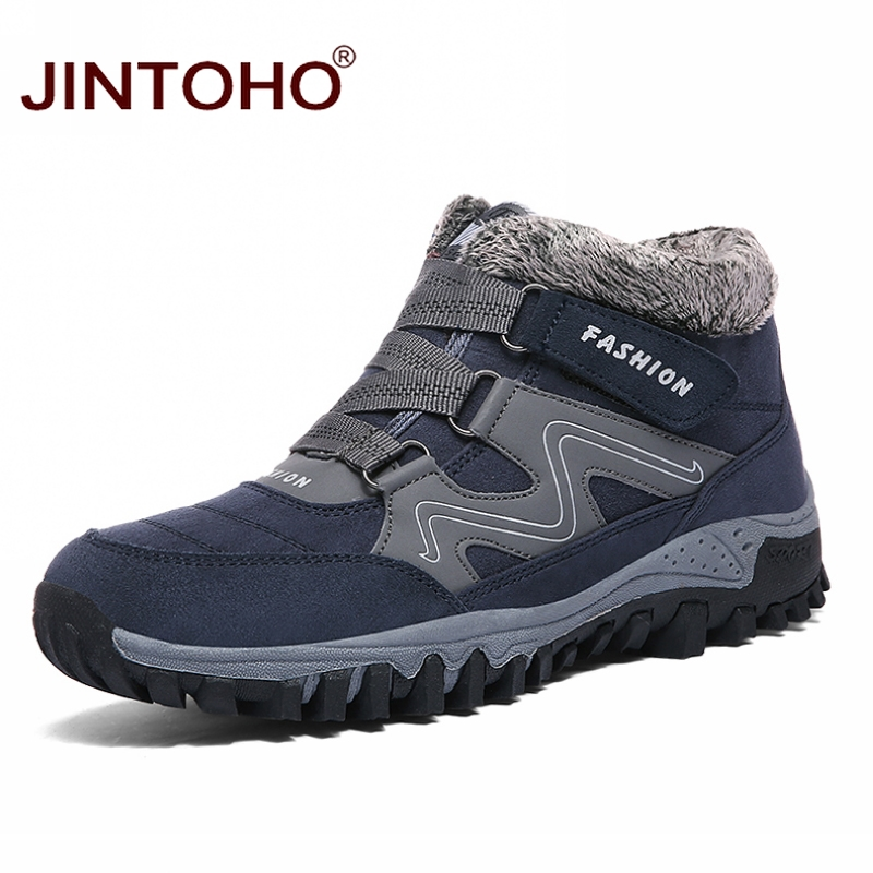JINTOHO 2019 Warm Winter Snow Shoes Fashion Men Winter Boots Brand Rubber Ankle Boots For Men Casual Snow Boots Men Booties