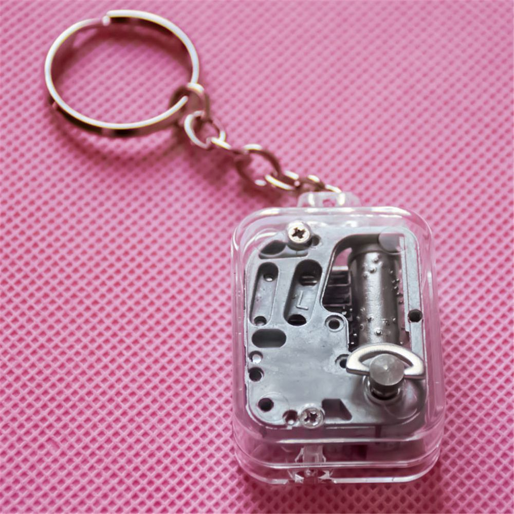 1Pc  Keychain DIY Play Set 18 Tones Best Mechanical Metal Clockwork Music Box With Screws Keychain