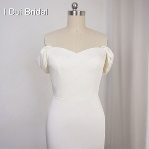 Image 3 - Simple Crepe Sheath Wedding Dress Elegant Bridal Gown High Quality Off Shoulder 2020 New Style