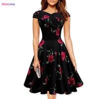 HANZANGL Summer Women Vintage Dress Short Sleeve V Neck Rose Print Swing Party Dresses Plus Size