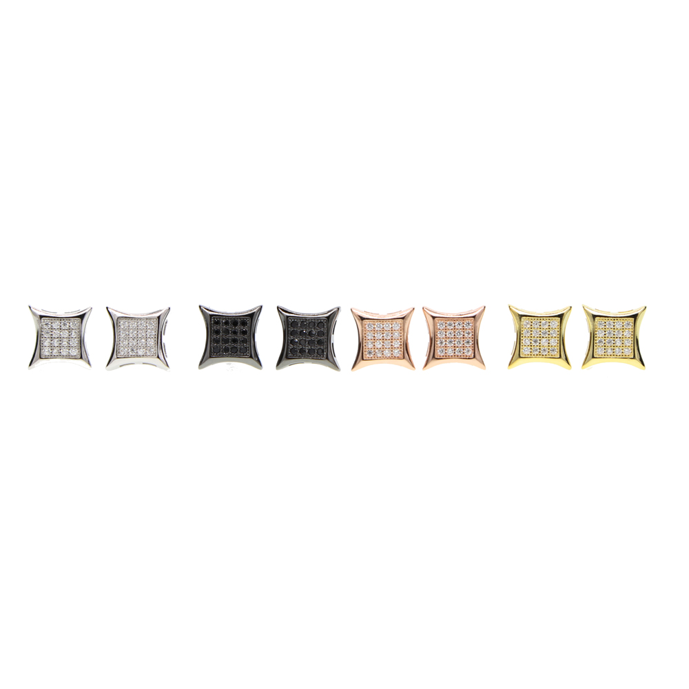 2017 hip hop bling sparking mens boy jewelry gold black color kite square shape simple micro pave cz screw back earring