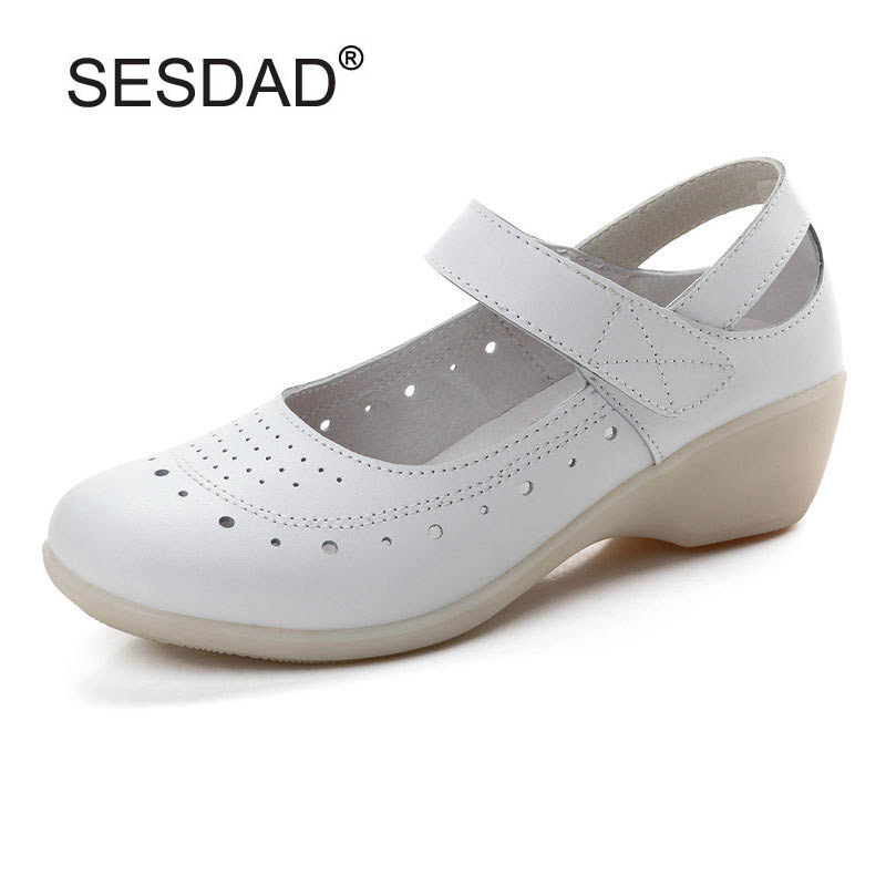 9af3dc63780 Hot Sale Women Genuine Leather Nurse Shoes Fashion Round Toe Cut-outs Mary  Jane Women Wedges Work Shoes Cross Strap Women Pumps