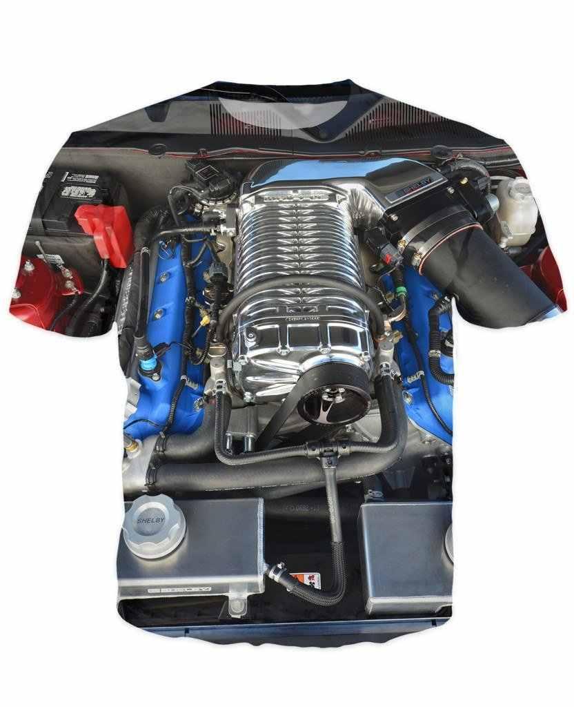 2018 haute qualité Cool T-shirt hommes femmes chaud impression 3d Ford shelby moteur chemise courte été hauts T-shirt chaud style