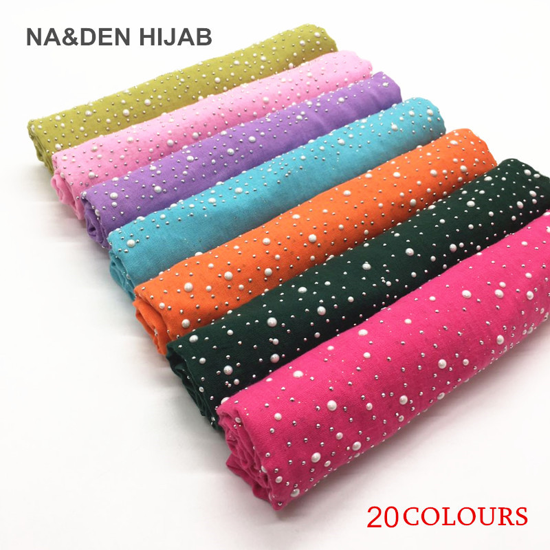 High quality Super soft Bright white beads scarf Lady s fashion candy colored shawl Muslim women