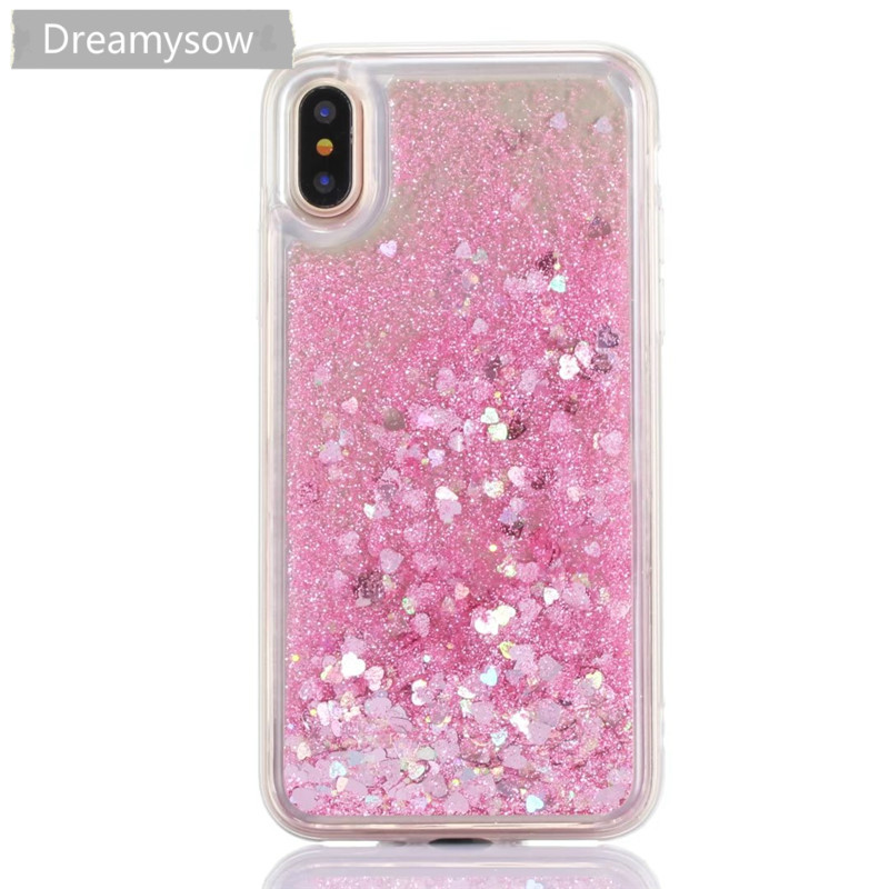 Soft TPU Cases For iphone X 10 Ten 5 5S SE 6 6s 7 8 plus Love Heart Stars Glitter Liquid Quicksand Silicone Back Cover ...