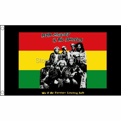 free shipping Bob Marley & The Wailers Flag Large 5 x 3' - Festival Party Banner Rasta Reggae Two buckle image
