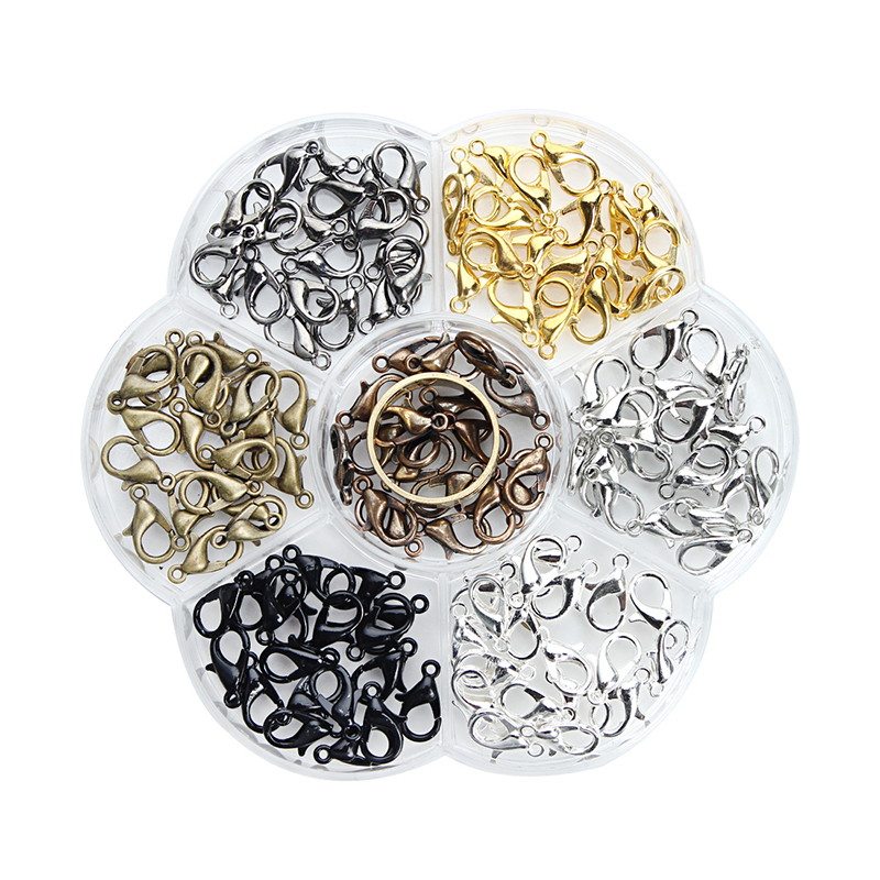 140pcs/box 7colors Mixed Metal Iron Lobster Clasps For Necklace 6*12mm Diy Hook Clasps With Open Tools Ring Jewelry Making F3556
