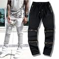 Nova Chegada Personalidade Moda masculina Hop Calças Masculino Magro Calças Zíper Lateral Elástica Wasit Calças Hiphop Yeezy Impulso