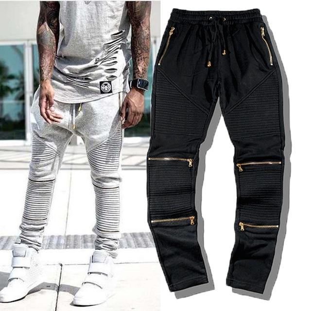 Nueva Llegada Personalidad de La Moda Hip-Hop de Los Hombres Pantalones Delgados Masculinos Pantalones de Cremallera Lateral Elástico de Wasit Pantalones Hiphop Yeezy Boost