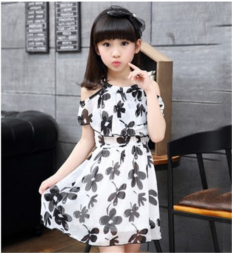 Teenage Girl Dresses Summer New Childrens Clothing Kids Flower Printed Beach Dress Girls Princess Costumes For Age 3~14 Years