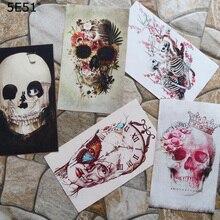 15*20cm Handmade cloth DIY cotton canvas fabric / positioning hand dyed patchwork digital printing skull