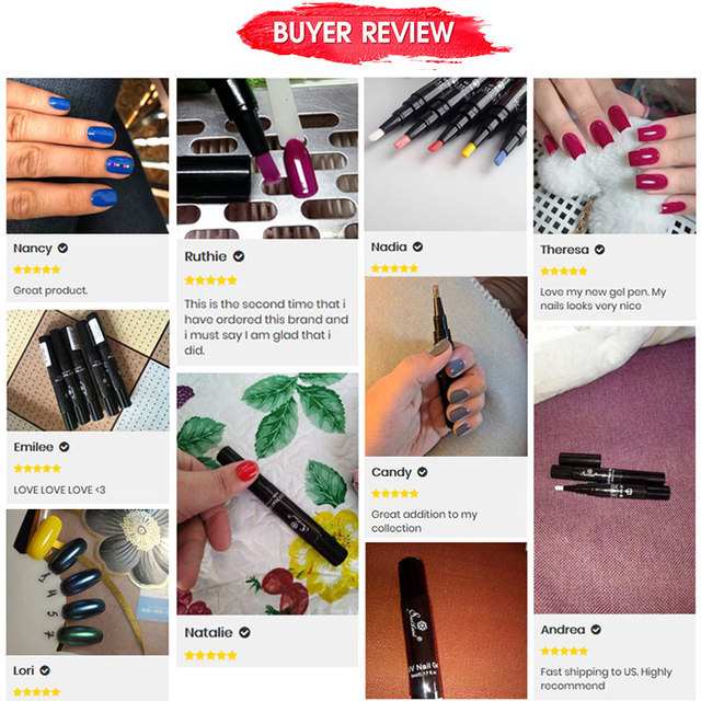 Saviland Newest 3 In 1 Gel Nail Varnish Pen Glitter One Step Nail Art Gel Polish Hybrid 60 Colors Easy To Use UV Gel Lacquer 4