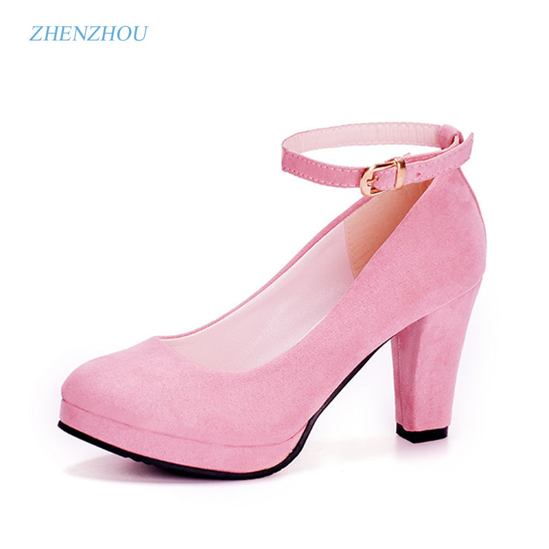 Spring and summer 2017 new round head crude and women's single shoe wholesale ankle strap heels  women's shoes new fashion trend dearomatization of crude oil