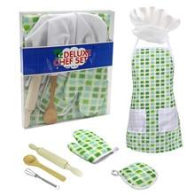 7 шт., детский набор для приготовления пищи и выпечки, роскошный набор для повара, кухонный костюм, комплект для ролевых игр, фартук, шляпа, костюм для детей 3 лет