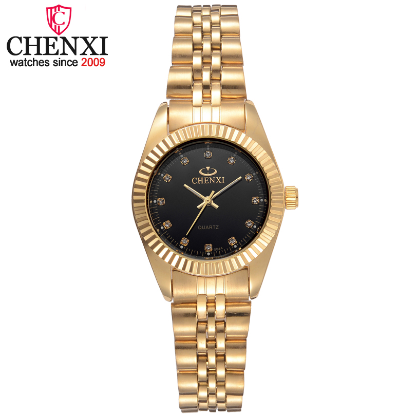 CHENXI Luxury Women Gold Stainless Steel Watchband Quartz Watch Female Fashion Dress Wrist watches Rhinestone relogio feminino golden clock gold fashion ladies watch women gold stainless steel quartz watches female wrist watch wholesale chenxi gold watch