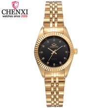 CHENXI Lujo Mujeres de Oro Correa de Acero Inoxidable Reloj de Cuarzo Vestido relojes de Pulsera de Moda Femenina Rhinestone relogio feminino