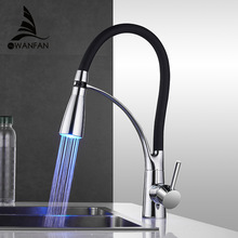 Kitchen-Faucets Sinks Deck Mounted-Crane Pull-Down Chrome-Mixer LED Rubber-Design Single-Handle