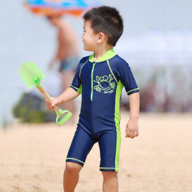 Cute Crab Kids Boys UV Swimwear Childrenu0027s One Piece Suits 2017 New Summer  Cartoon Swimming Clothes